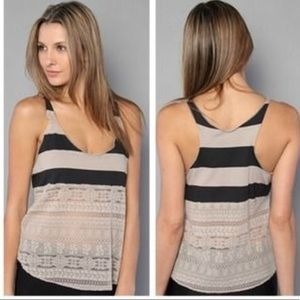 Free People We The Free Black and Tan Lace Tank